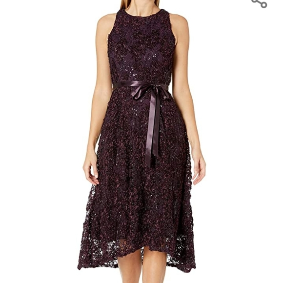 Tahari eggplant high low dress BNWT